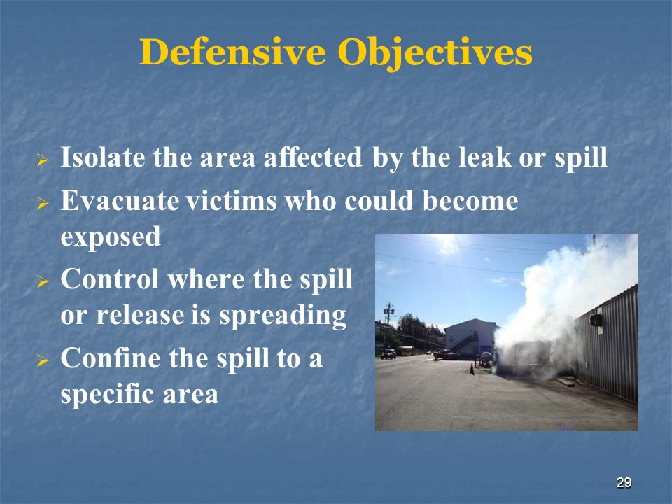 Defensive Objectives Isolate the area affected by the leak or spill