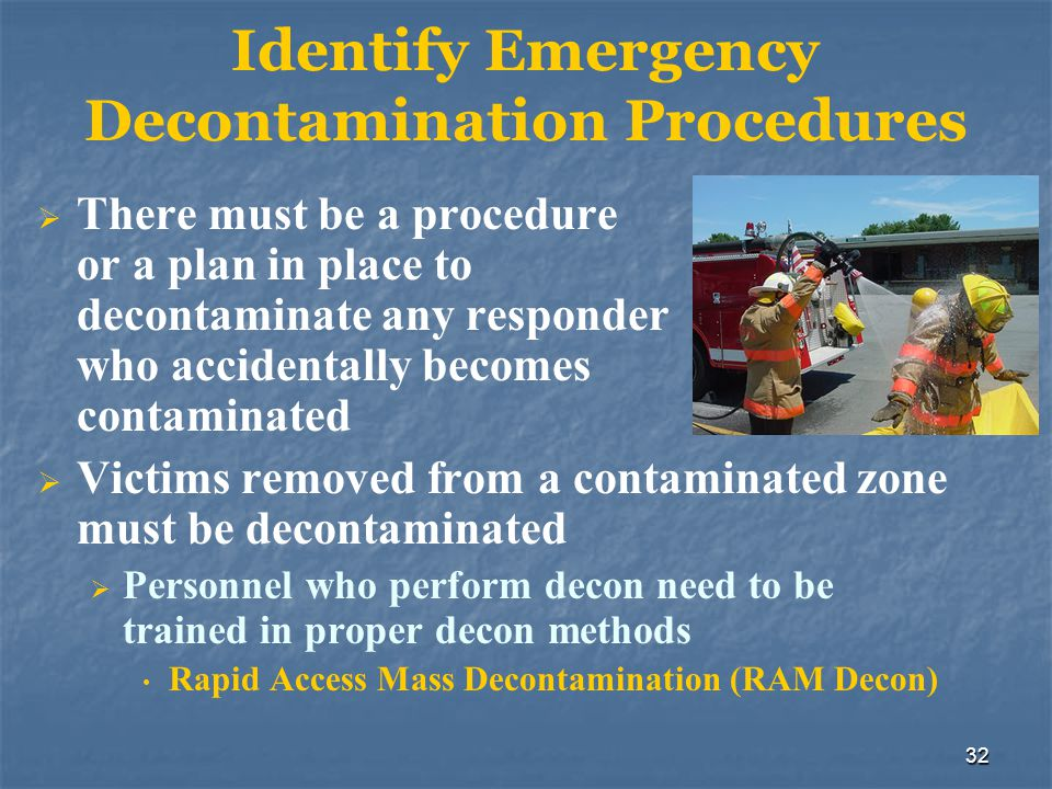 Identify Emergency Decontamination Procedures