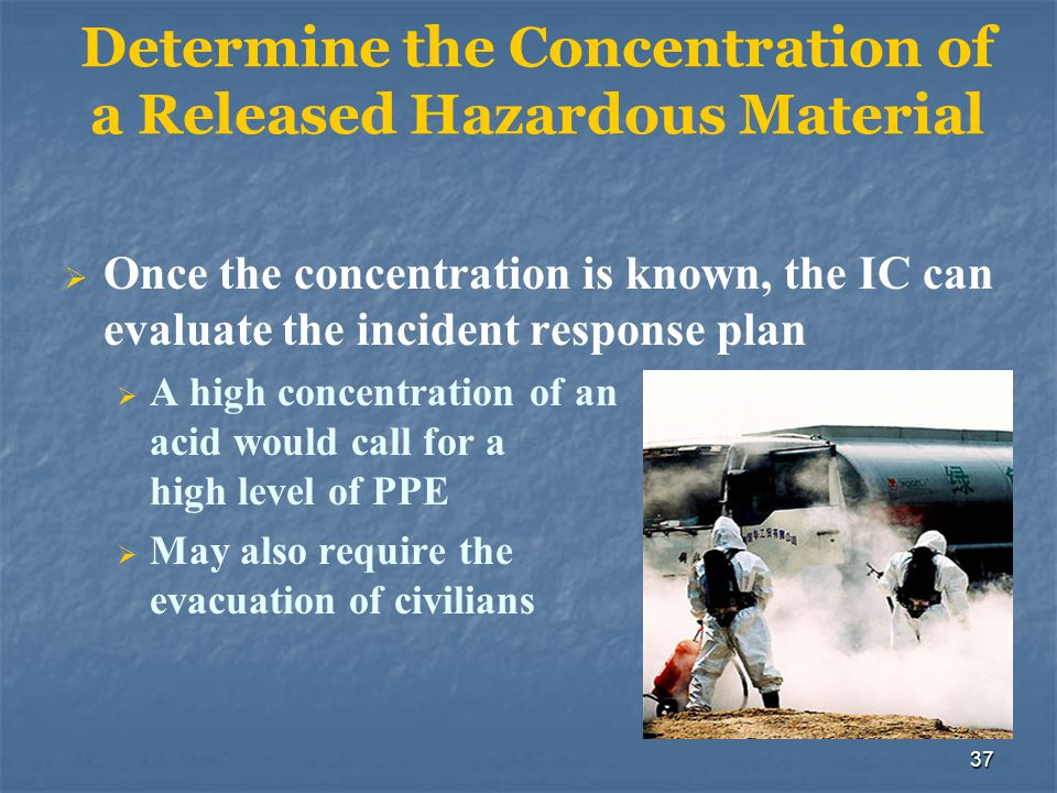 Determine the Concentration of a Released Hazardous Material