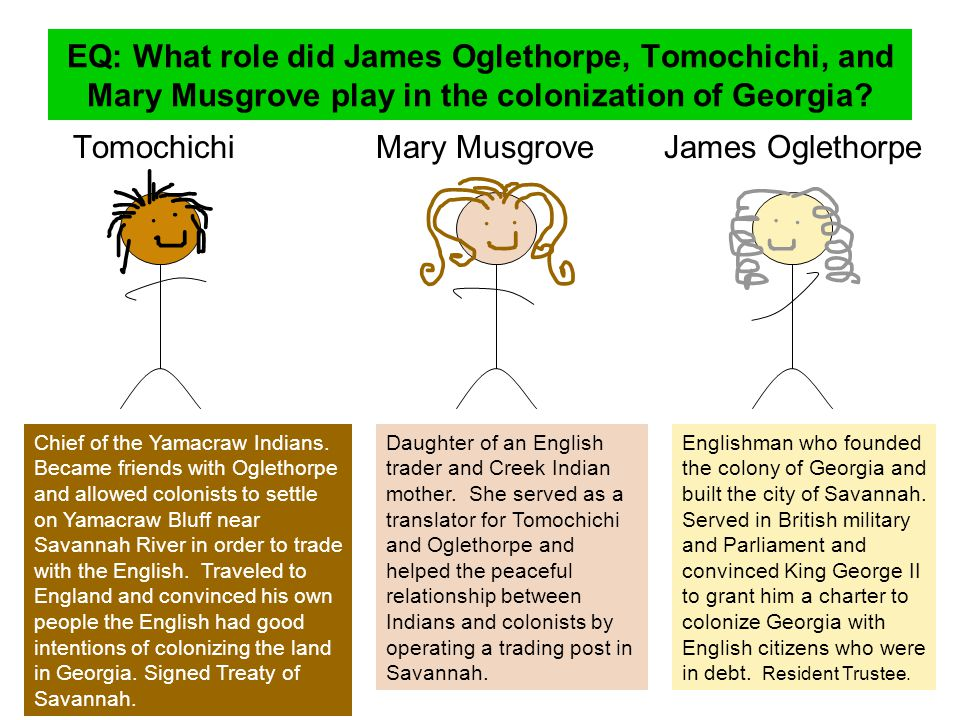 Tomochichi Mary Musgrove James Oglethorpe