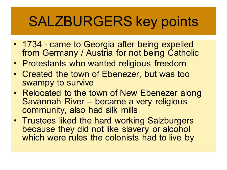 SALZBURGERS key points