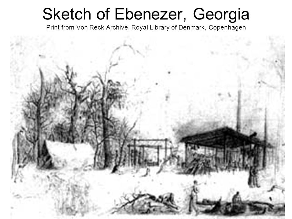 Sketch of Ebenezer, Georgia Print from Von Reck Archive, Royal Library of Denmark, Copenhagen
