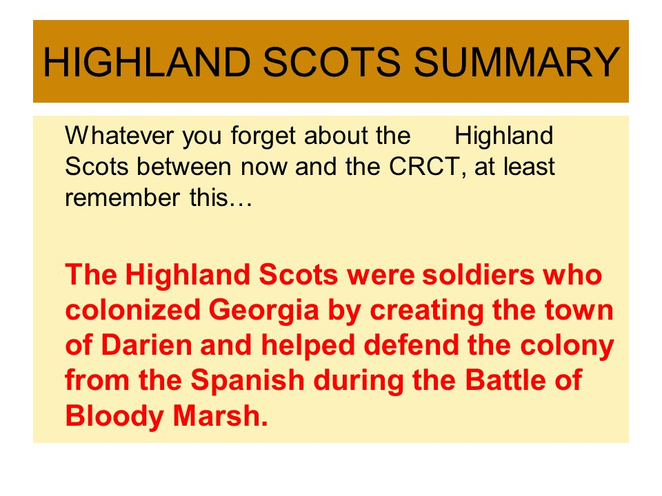HIGHLAND SCOTS SUMMARY