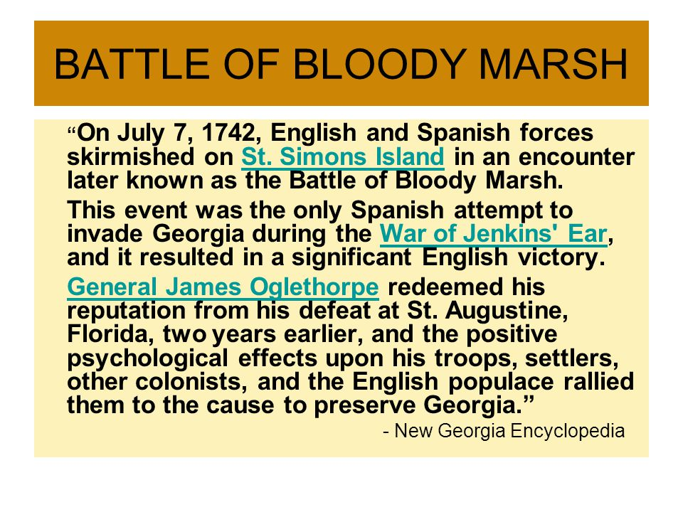 BATTLE OF BLOODY MARSH