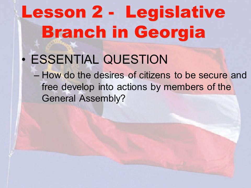 Lesson 2 - Legislative Branch in Georgia