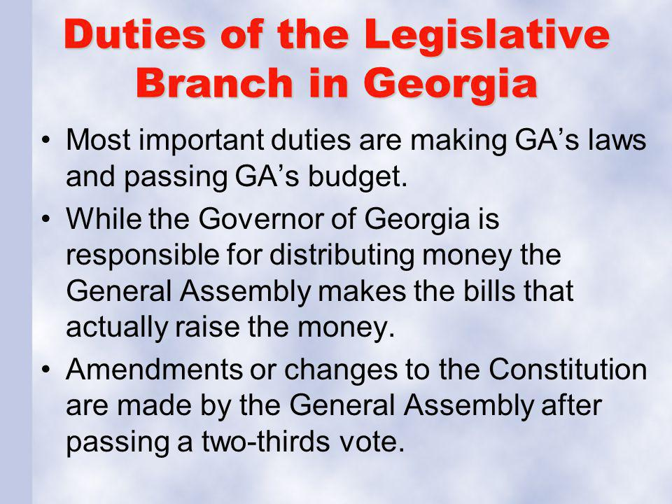 Duties of the Legislative Branch in Georgia