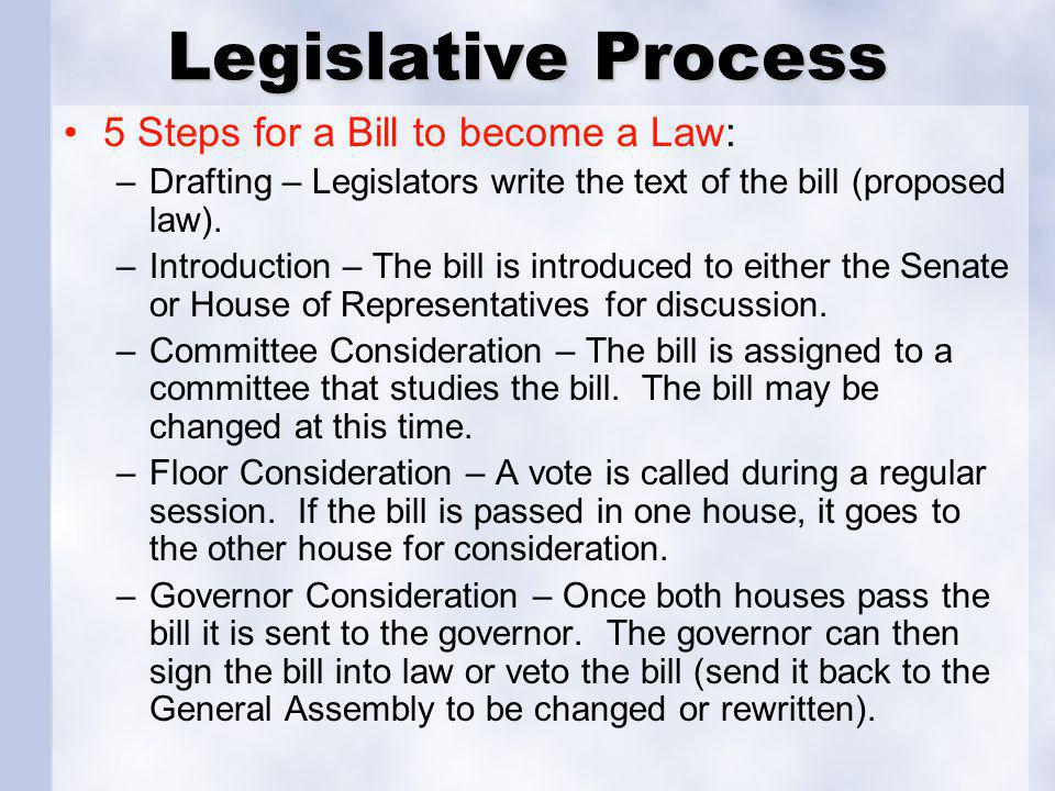 Legislative Process 5 Steps for a Bill to become a Law: