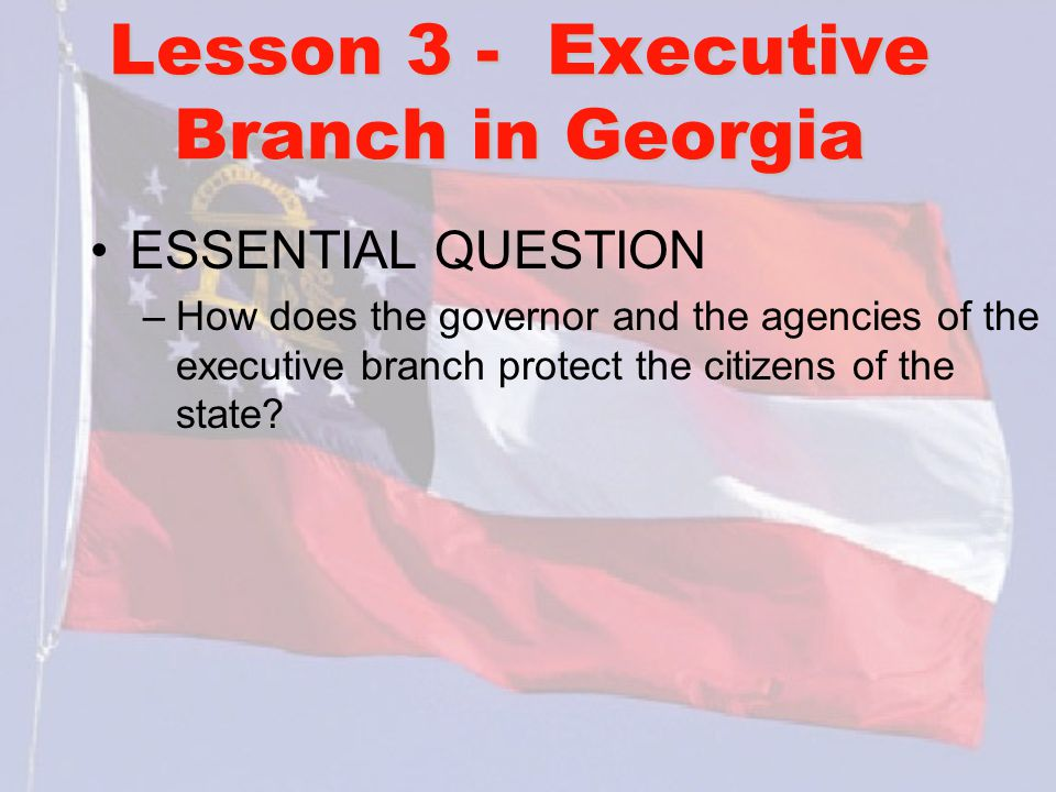 Lesson 3 - Executive Branch in Georgia