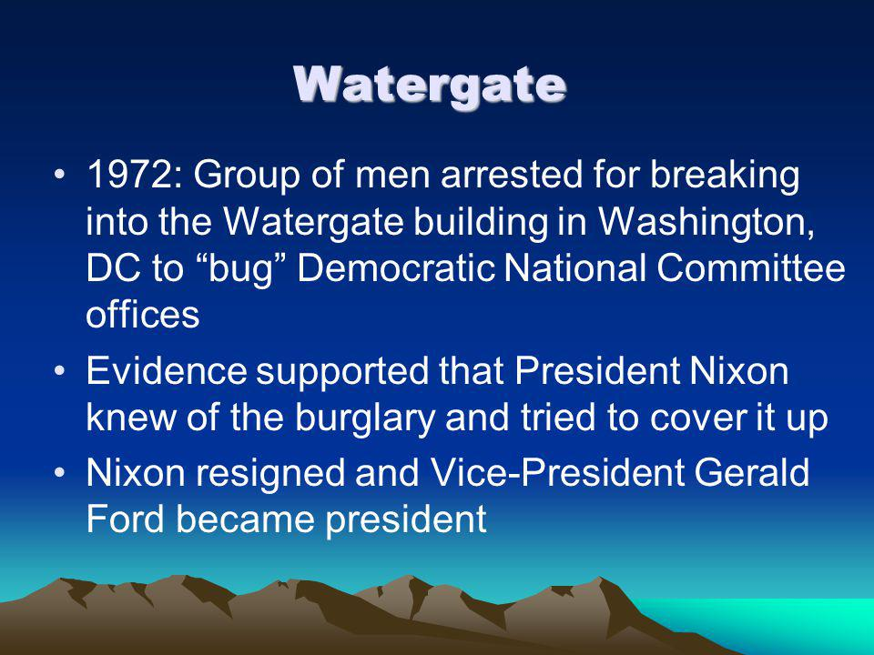 Watergate 1972: Group of men arrested for breaking into the Watergate building in Washington, DC to bug Democratic National Committee offices.