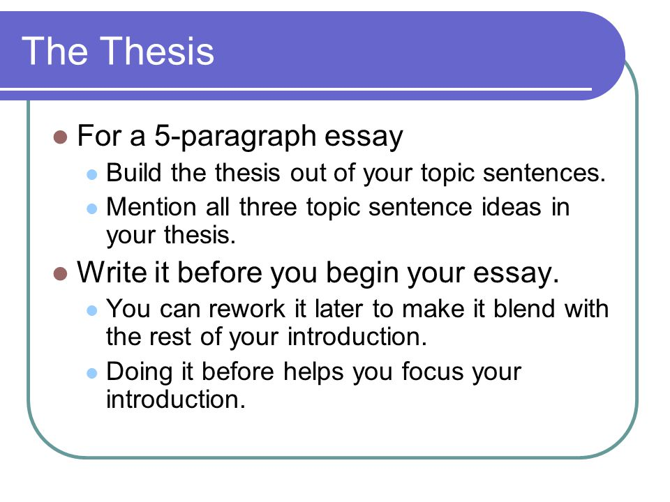 The Thesis For a 5-paragraph essay