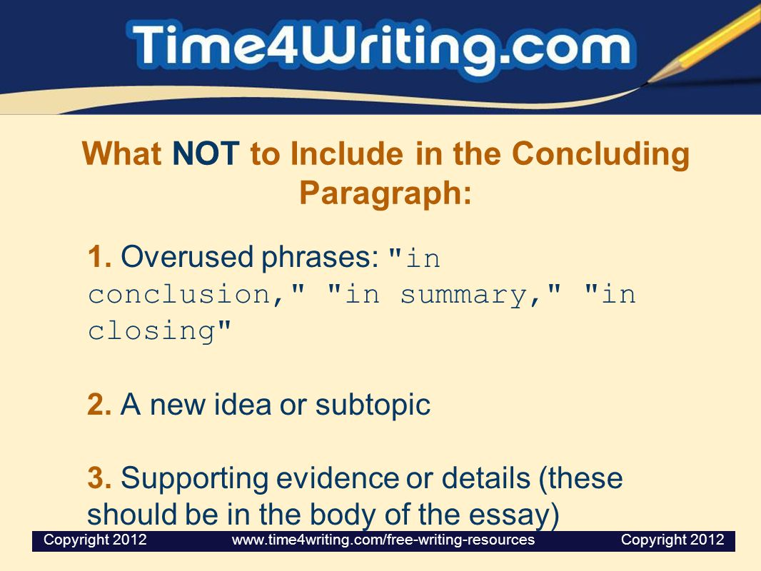 Writing a concluding paragraph ppt