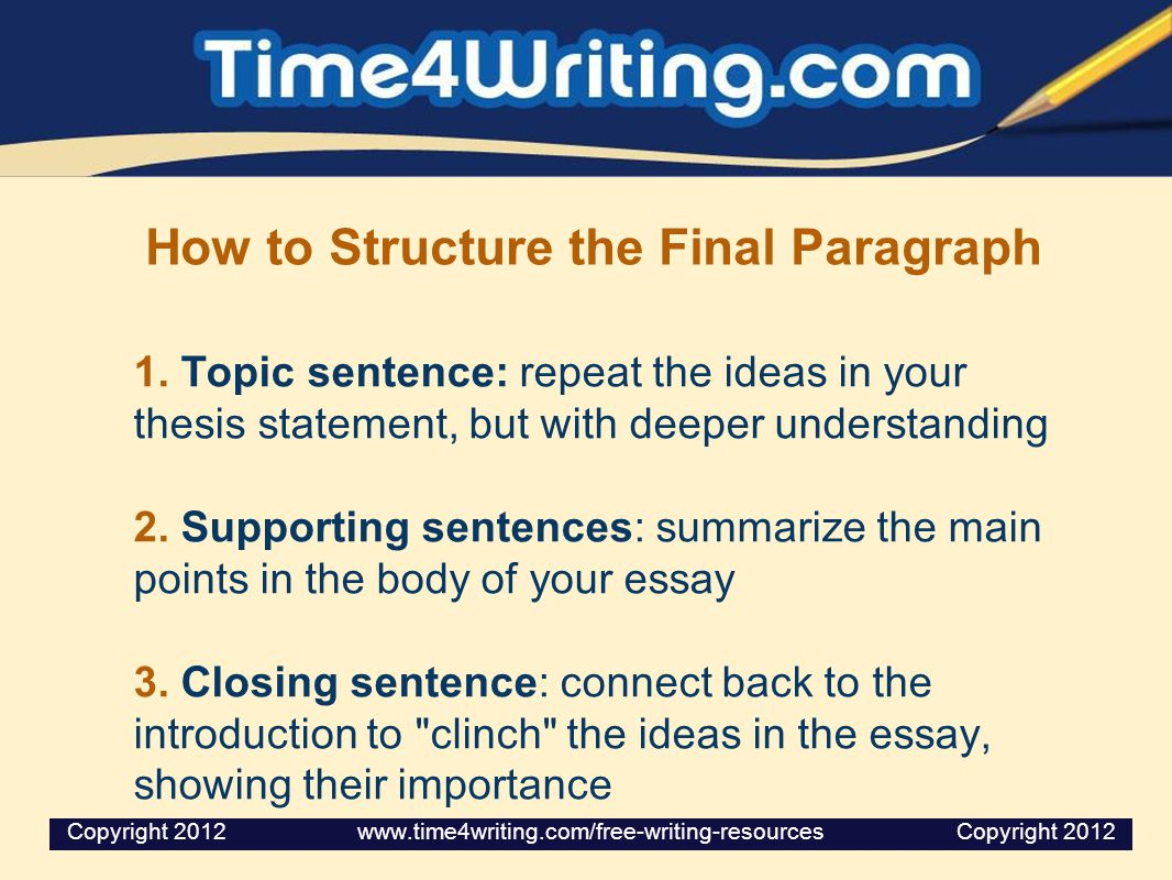 Structure of an essay and topic sentence locations