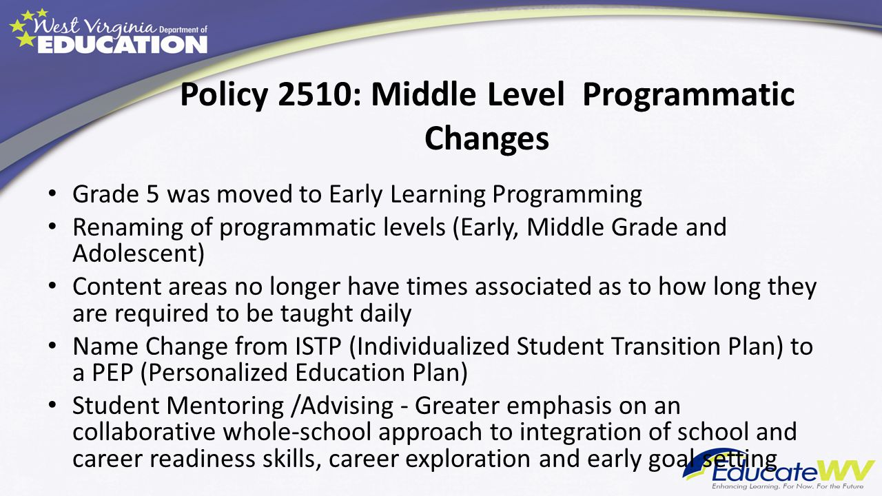 Policy 2510: Middle Level Programmatic Changes
