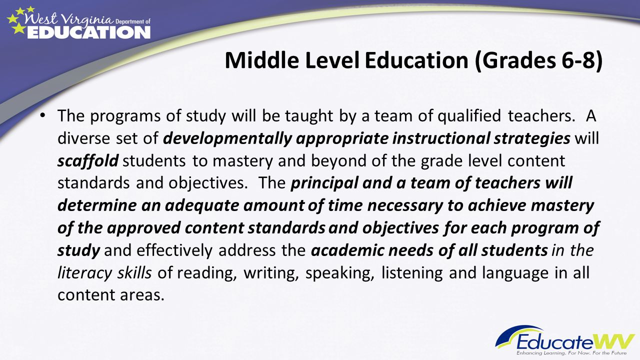 Middle Level Education (Grades 6-8)