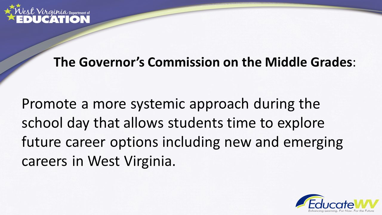 The Governor's Commission on the Middle Grades: