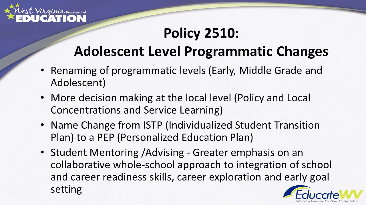 Policy 2510: Adolescent Level Programmatic Changes