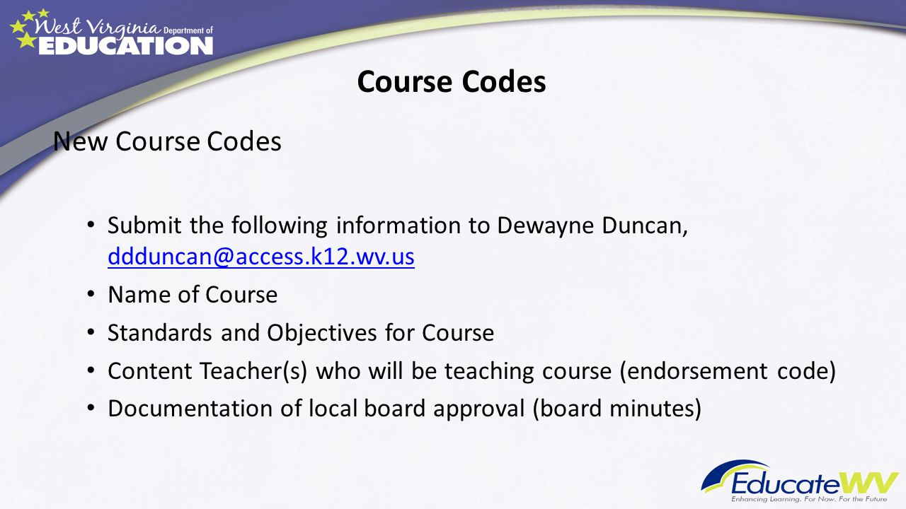 Course Codes New Course Codes