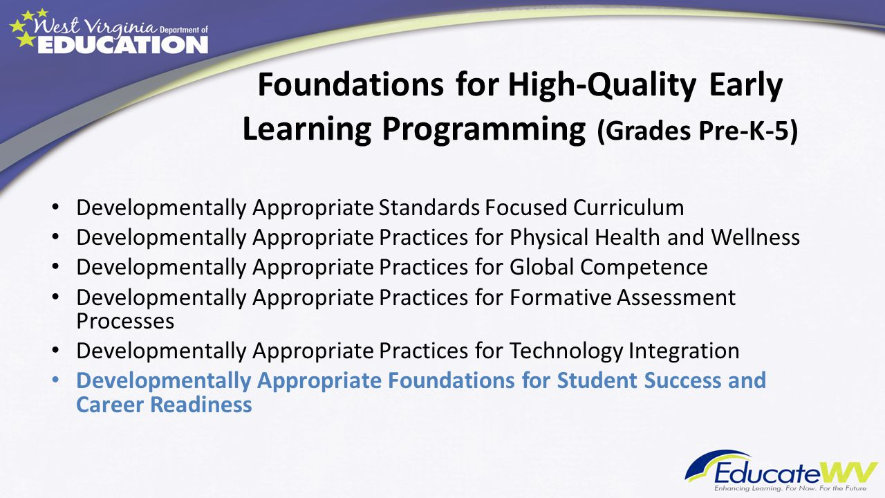 Foundations for High-Quality Early Learning Programming (Grades Pre-K-5)