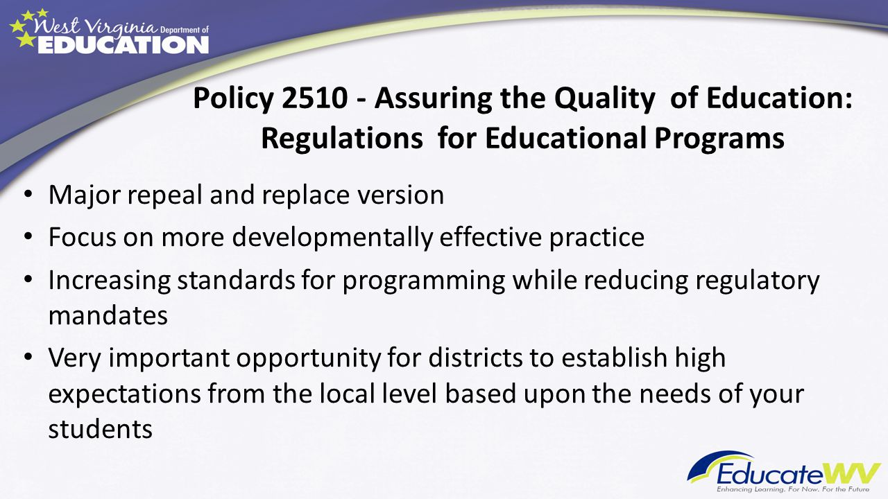 Policy 2510 - Assuring the Quality of Education: Regulations for Educational Programs