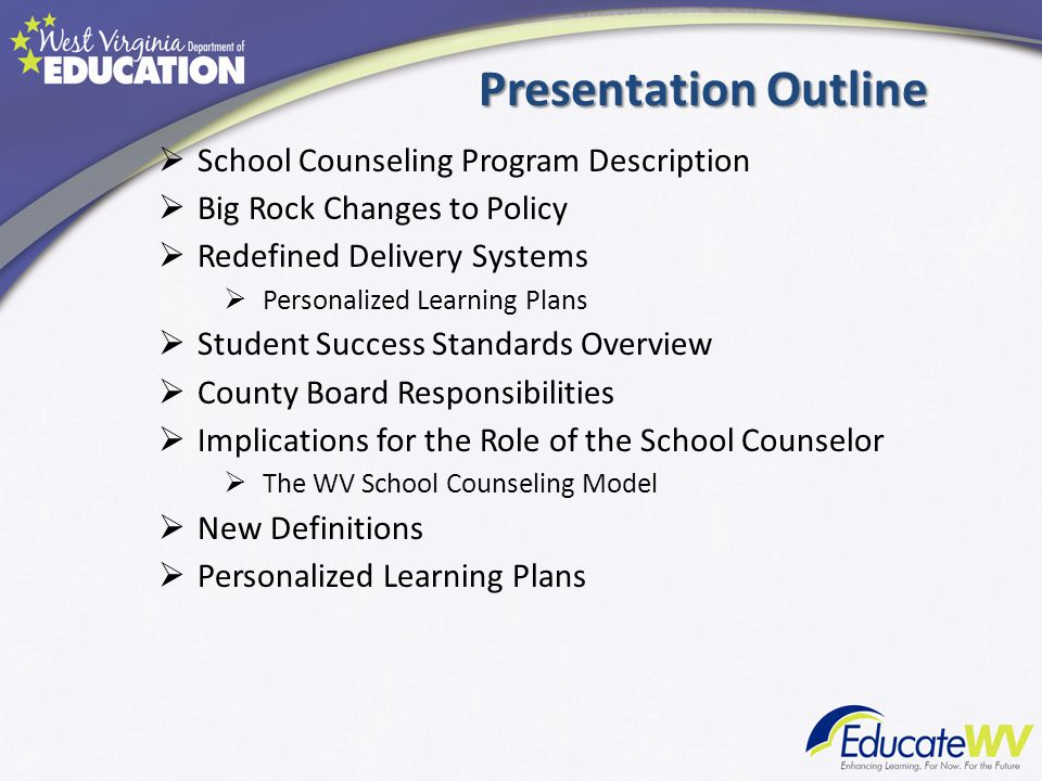 Presentation Outline School Counseling Program Description