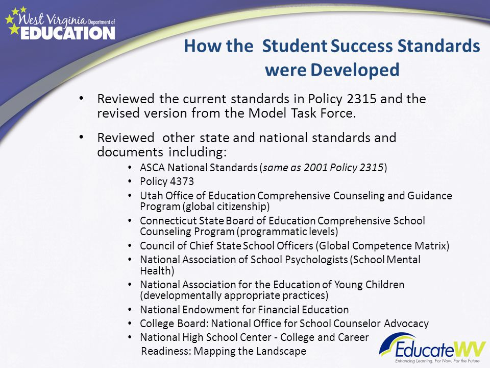 How the Student Success Standards were Developed