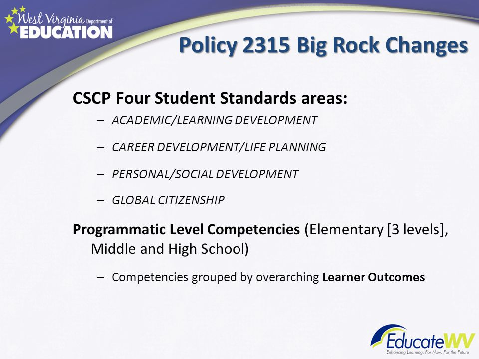 Policy 2315 Big Rock Changes