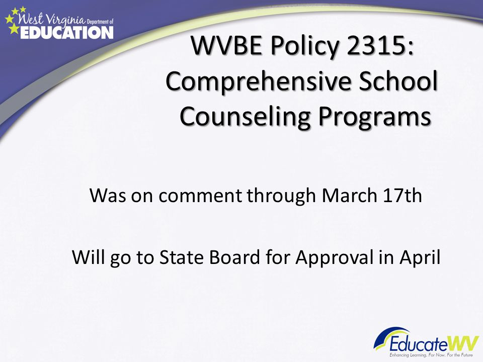 WVBE Policy 2315: Comprehensive School Counseling Programs