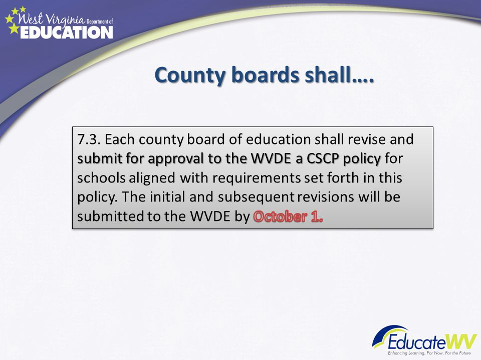 County boards shall….