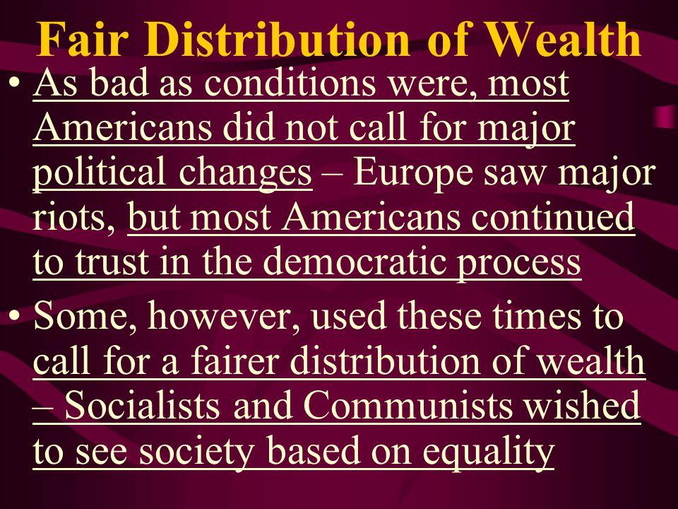 Fair Distribution of Wealth