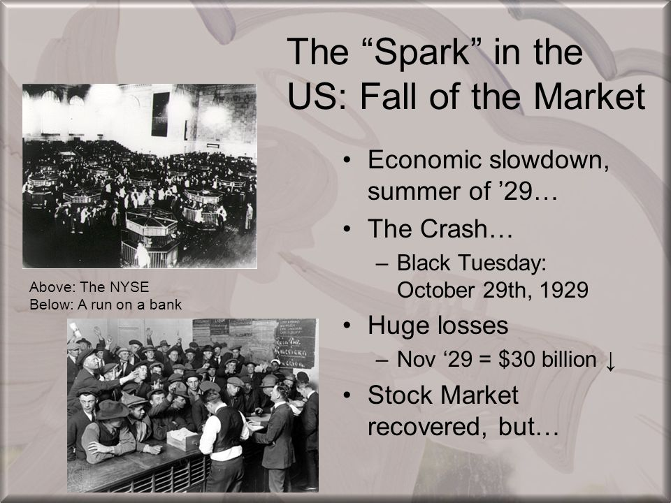 The Spark in the US: Fall of the Market