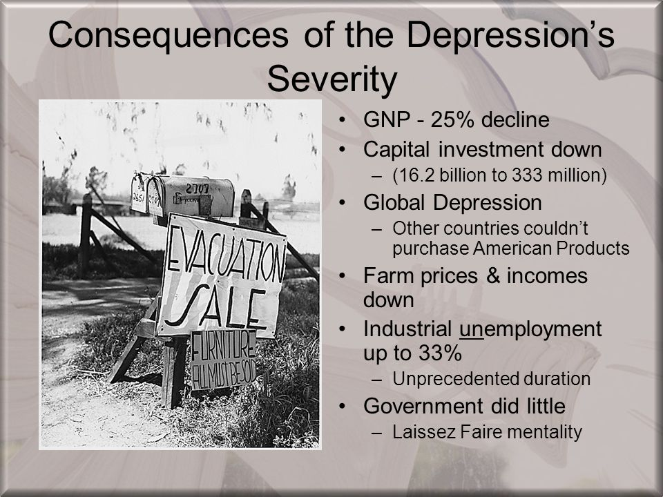 Consequences of the Depression's Severity