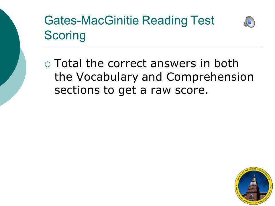 Gates-MacGinitie Reading Test Scoring