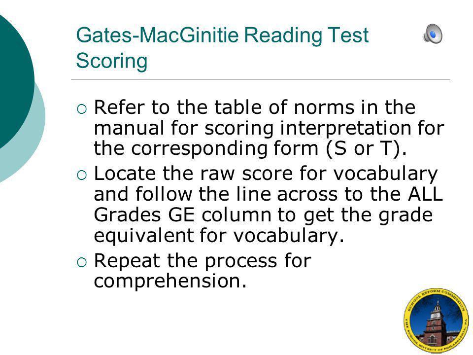 Gates-MacGinitie Reading Test Scoring