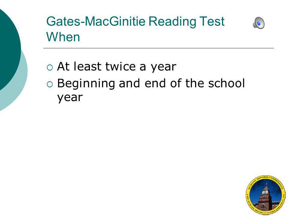 Gates-MacGinitie Reading Test When