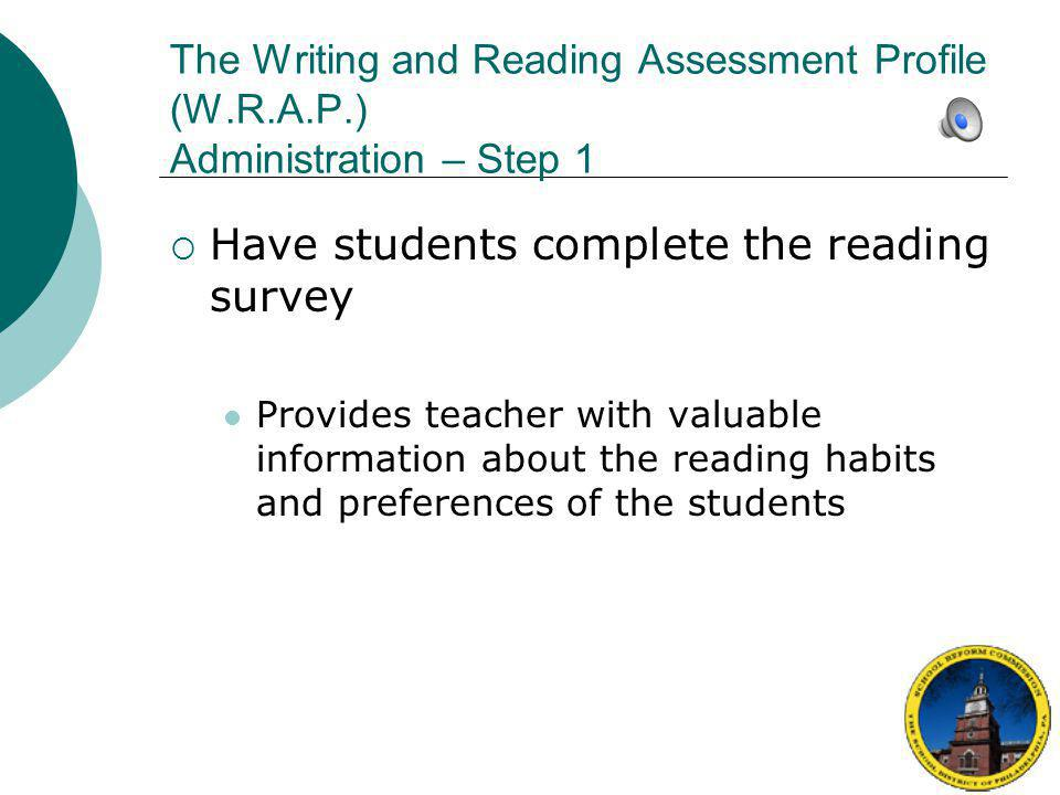 Have students complete the reading survey