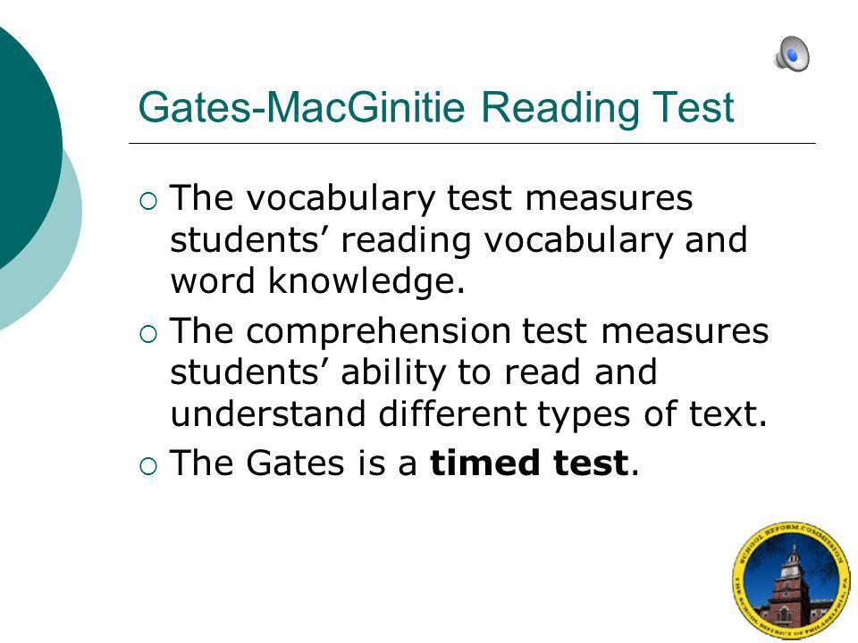 Gates-MacGinitie Reading Test
