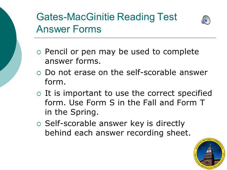 Gates-MacGinitie Reading Test Answer Forms