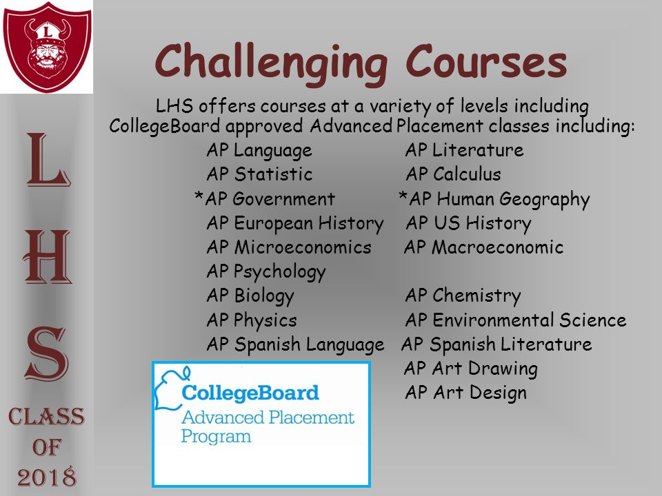 L H S Challenging Courses Class Of 2018