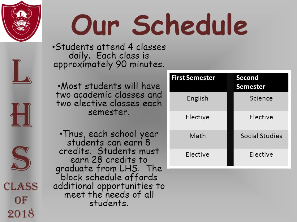 L H S Our Schedule Class Of 2018
