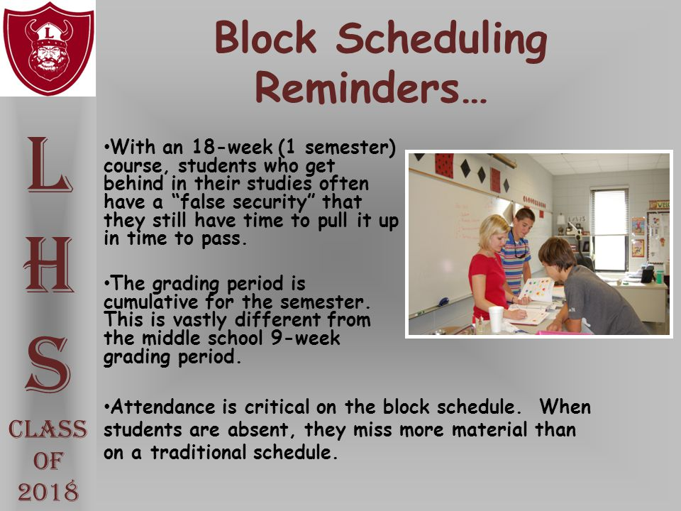 Block Scheduling Reminders…