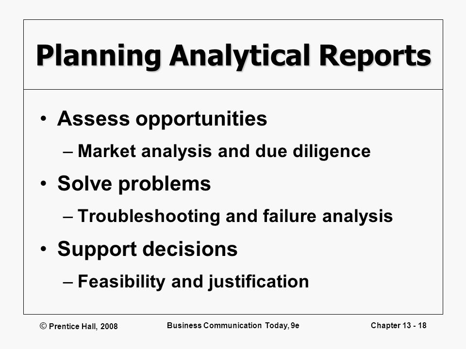 Planning Analytical Reports