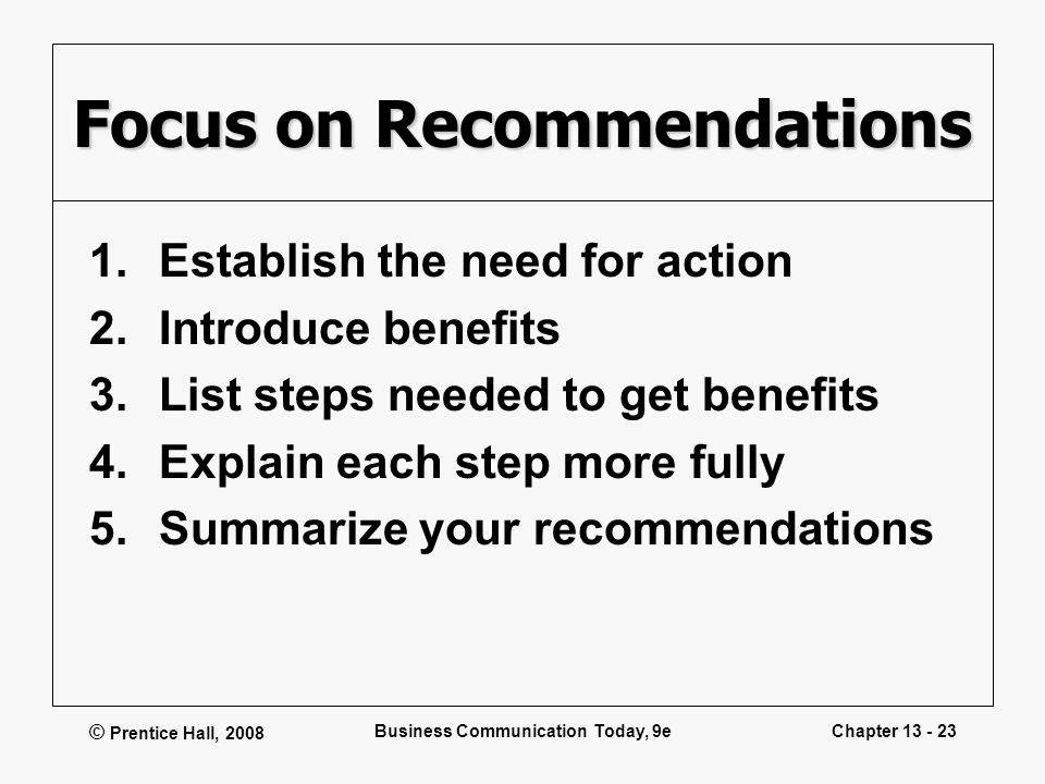 Focus on Recommendations