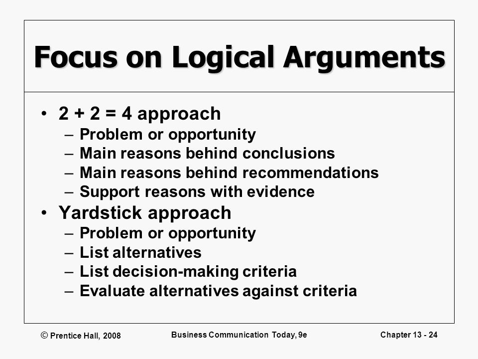 Focus on Logical Arguments