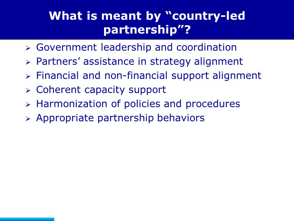 What is meant by country-led partnership