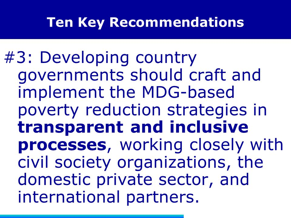 Ten Key Recommendations