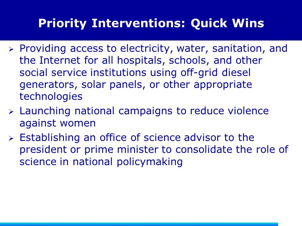 Priority Interventions: Quick Wins