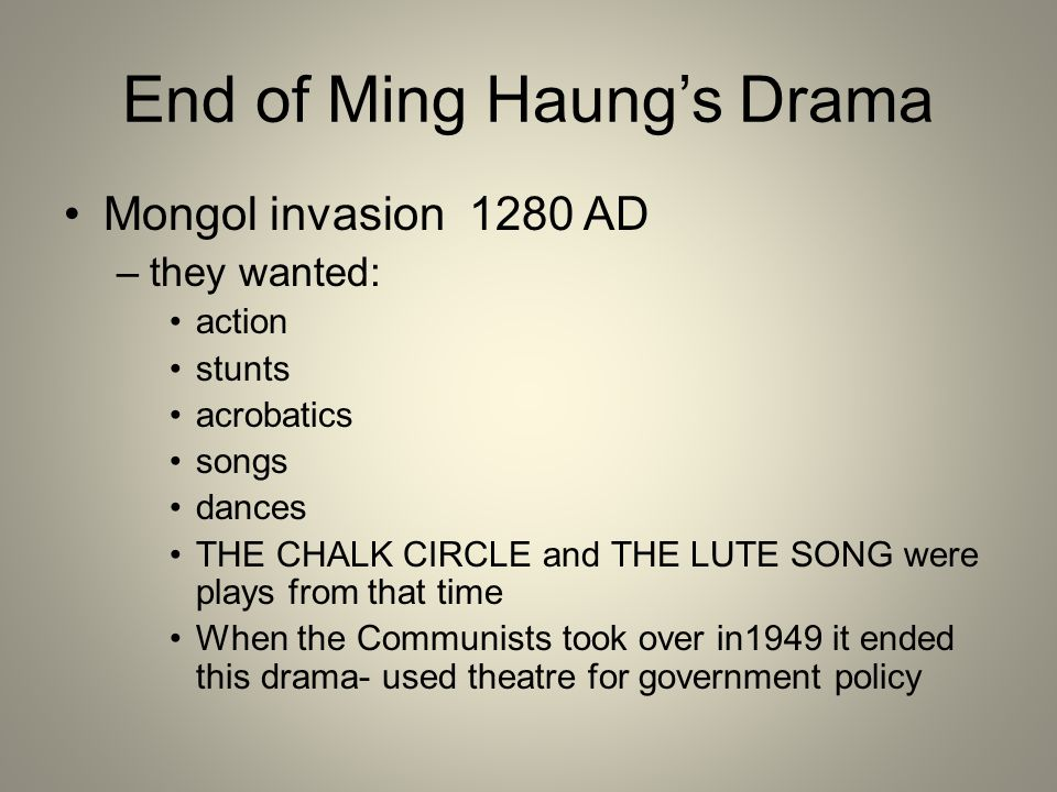 End of Ming Haung's Drama