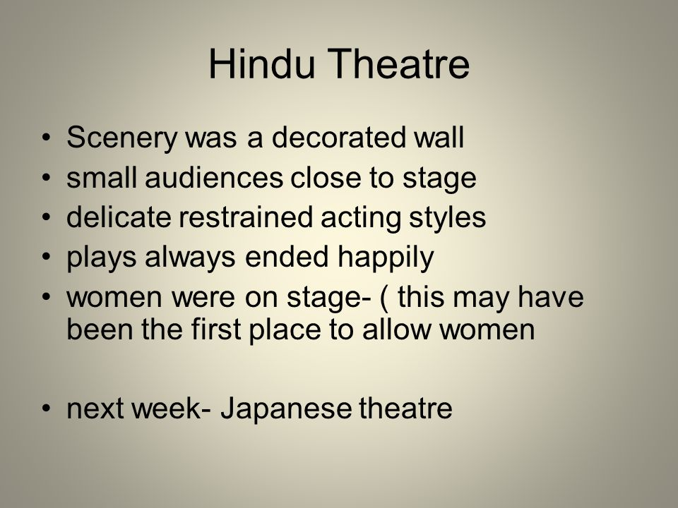 Hindu Theatre Scenery was a decorated wall