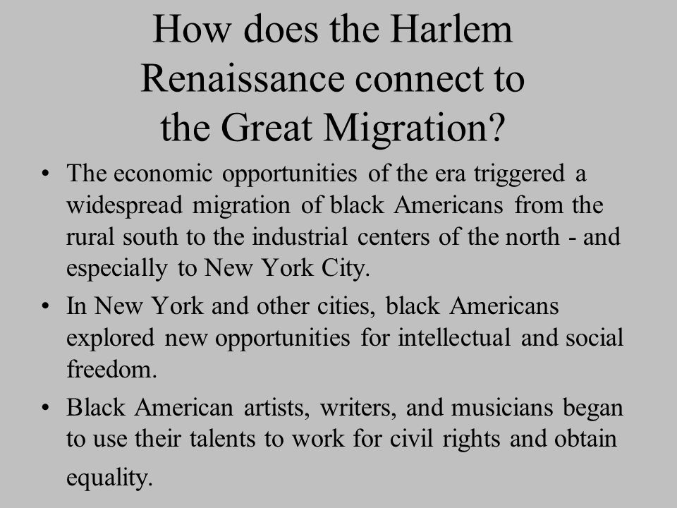 How does the Harlem Renaissance connect to the Great Migration