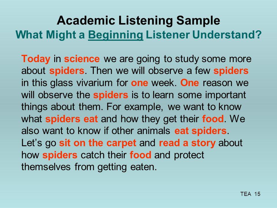 Academic Listening Sample What Might a Beginning Listener Understand